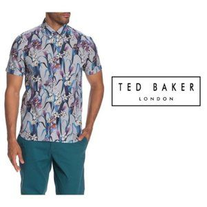 Ted Baker London Mens Blue Hawaiian Shirt Sz XL